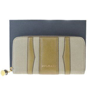 Bvlgari Zipper Leather Long Wallet (bi-fold) Brown